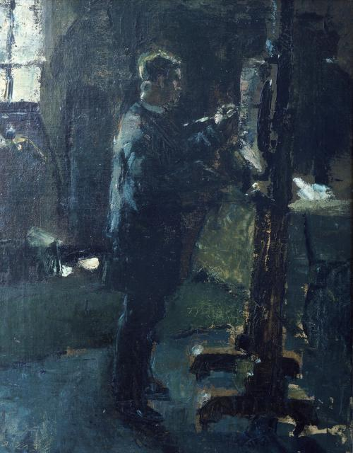 'Willy Finch in zijn atelier' van James Ensor, 1883
